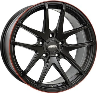 Jante Inter Action Red Hot 7.5x17 5x108 ET45 63.4 Preto bordo vermelho